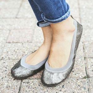 Yosi Samra Metallic Bendable Ballet Flats Size 9